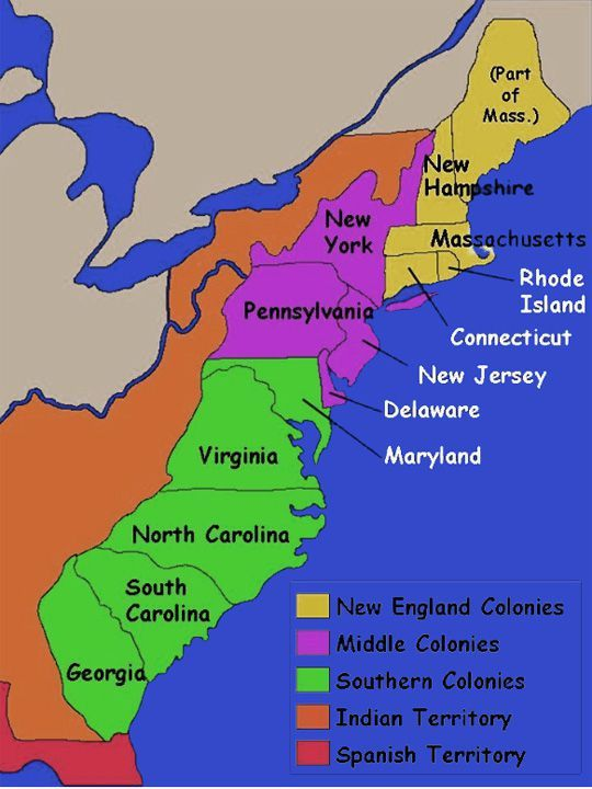 map of the colonies