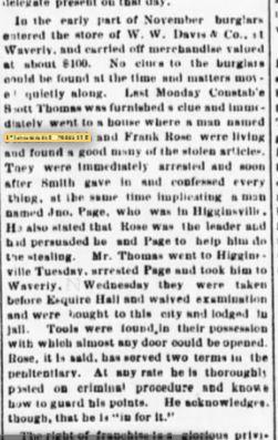 Pleasant Smith burgalar 25 Jam 1890 Lex Intelligencer Caught