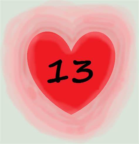13 with a heart