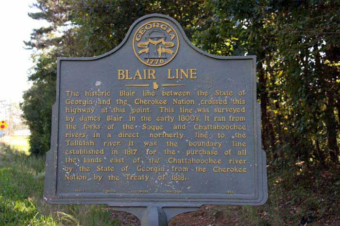 Blair line GA & Indian Nation boundry made by James Blair