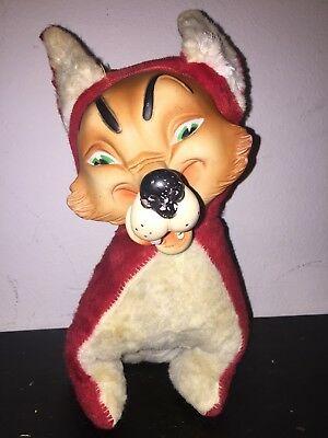 Vintage-Rubber-Face-Plush-Wolf
