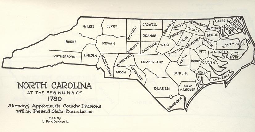 wilkes co NC 1780 map