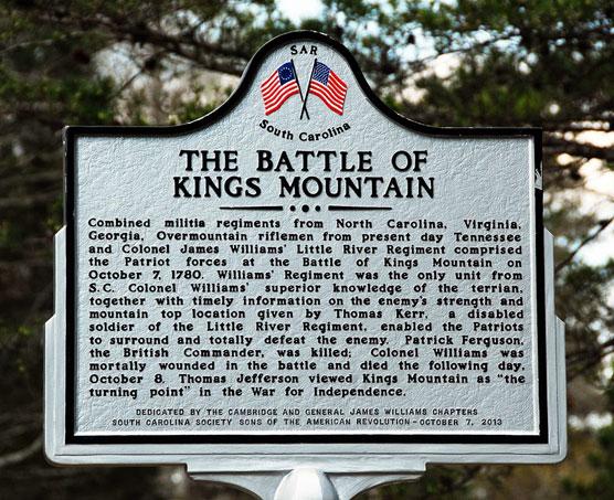 Kings Mountain Battle-Sign