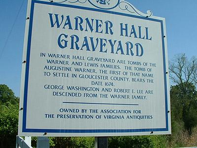 Augustine Warner Cemetery SIgn