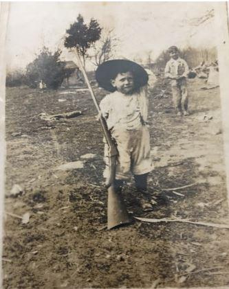 Davis Willard with his grandpa's gun