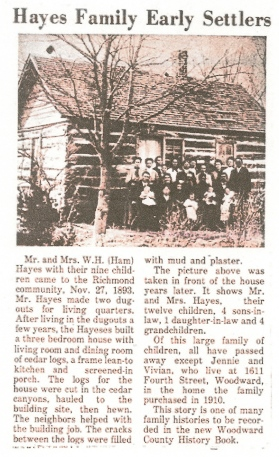 Hayes Family Early Settlers newspaper article William Henry Hamilton Hayes Family