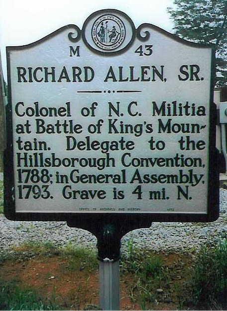 Richard Allen sign Roaring river, Wilkes Co NC