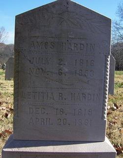 Amos & Letitia Hardin 1816-1853 & 1819-1861