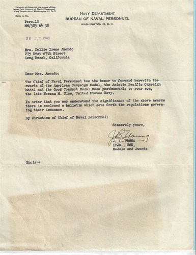 Norman Miles Sims WWII letter