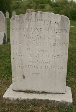 Sarah Jane Hardin 1854-1856
